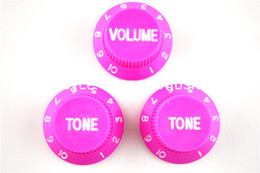 Wholesale Electric Guitars Control Knobs - Pink 1 Volume&2 Tone Knobs Electric Guitar Control Knobs For Fender Strat Style Guitar Free Shipping Wholesales
