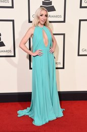 Wholesale Evening Ceremony Dress - 58th GRAMMY Awards Ashley Monroe Red Carpet Evening Dresses Sexy Keyhole Neck Chiffon Teal Long Ceremony Prom Pageant Gowns 2016