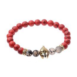 Wholesale Helmet Set - 2017 new natural agate bracelets for girls statement jewelry Fashion Wholesale spartan helmet black Bead yoga Bracelet bangles for women