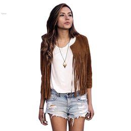 Wholesale Ladies Leather Jackets Sale - Hot Sale ! 2015 Women Jacket Fashion Lady O-Neck Long Sleeve Front Open Slim Casual Autumn Jacket Coffee S-XL