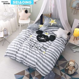 Wholesale Mouse Bedding Set - Nordic 100% cotton grey white striped star bed linens twin cartoon mouse bedding set 3d duvet cover boy kids decor sheets single