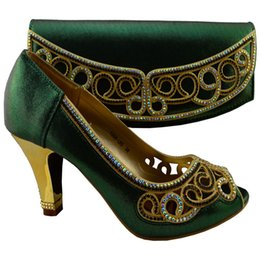 Wholesale Kitten Heel Wedding Shoes Gold - Free shipping New arrival african shoes and matching bag set with rhinestones italian ladies high heels pumps dark green gold blue purple