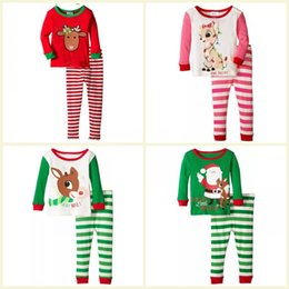 Wholesale Stripes Pajamas - High Quality Boy girl Christmas elk stripe Pajamas sets new children Cotton cartoon stripe long Sleeve + Pants 2pcs Suits baby clothes