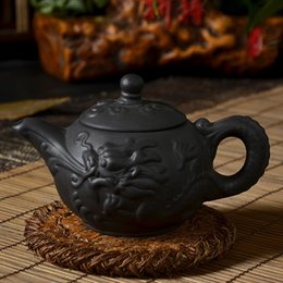 Wholesale Kettle Sets - Yixing teapot authentic Chinese purple clay tea pot kongfu tea set 180cc hand-pull black kettle Water-dragon pot