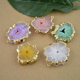 Мода-10шт позолоченный край, смешанный цвет друзы кварц камень разъем бусины ювелирных изделий от