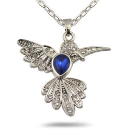 Wholesale Vintage Bird Jewelry - Locket Animal Charm Vintage Metal Anitque Silver Royalblue Crystal Flying Bird Hummingbird Pendant Necklace Link Chain Jewelry