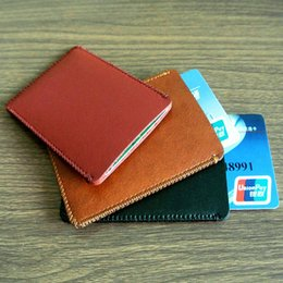 Wholesale Bus Bank - Free Shipping High Quality Card Holder Microfiber Leather slim Bank Credit Card holder ID Card Bus Card Holder case Wallet