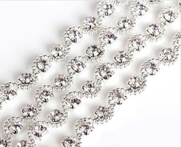 Wholesale Rhinestones Sew Silver - 1 Yard Sparkle Rhinestones Crystal Beads Wave Silver Plated Ribbon Chain Trim For Sewing Craft Diy