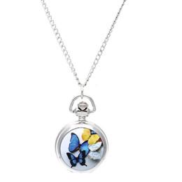 Mariposa colorida Collar de Las Mujeres Reloj Caja Abierta Redonda Colgante de Cuarzo Medallón Colgante de Cuarzo Reloj de Bolsillo Collar de Cadena Vintage Butterfly desde fabricantes
