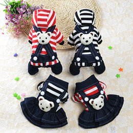 Wholesale Pet Stripe Pants - 2017 The new pet dog and cat dog clothes clothing stripe suspenders bear Zaisi leg pants