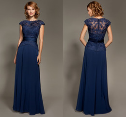 Wholesale Prom Dresses One Shoulder Yellow - Dark Navy Blue Lace Bridesmaid Dresses Short Sleeve Covered Button Back 2015 Bridesmaid Dress A Line Chiffon Lace Prom Gown Evening Dress