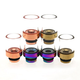 Wholesale Wholesale Bearing House - Pyrex Glass Muffler 510 Wide Bore Drip Tips Fit E House CE4 CE5 EVOD Clearomizer Stainless Steel Rainbow E Cigarette Mouthpiece