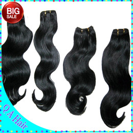 Wholesale Double Drawn Body Wave - VIP Outlet Price 7A Indian Queen Human Hair 4pcs lot Double Drawn wefts Silky body wave Soft free fast shipping