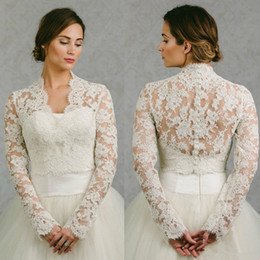 Wholesale Cheap Boleros - Hot Sale 2018 wedding bridal wraps long sleeves lace jacket v neck cheap women bolero bridal accessories
