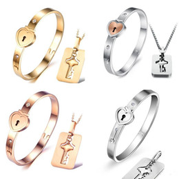 Wholesale Rose Necklace Golden - 2018 New Titanium steel necklace bracelet jewelry sets rose gold fashion lovers bracelet necklaces birthday present