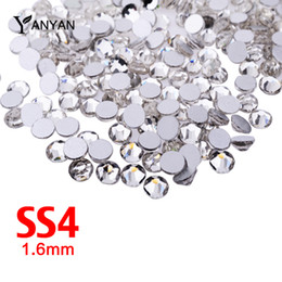 Wholesale Clear Glitter Nails - Wholesale- SS4 Nail Art Rhinestones,1440pcs lot Clear Flat Back Non Hotfix Glitter 3d Nails Phones Accessory Decoration,Crystal Nail Stones