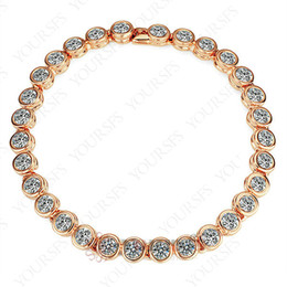 Wholesale Beaded Diamond Bracelets - Yoursfs Luxury New simple Design Bracelet 18 K White Gold GP Crystal Bangle Multi Diamond Promise Love Bracelet Wedding for Women Jewelry