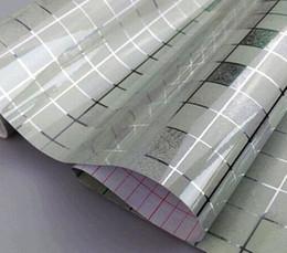 pintura a óleo fundo preto Desconto Papel de Parede Quente Anti Óleo Papel de Parede Mosaico de Alumínio Cinzento para Cozinha Papel de Parede Resistente à Água de Alta Temperatura