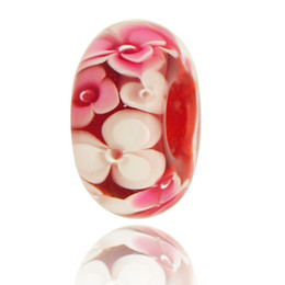 Wholesale Large Red Glass Beads - Hot!!!! No metal core high quality fashion selling Large Hole Murano Glass Bead For Pandora Charm Bracelet