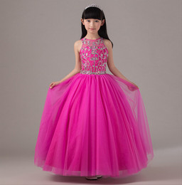 Argentina Encantadora princesa fucsia joya escote largo flor niña vestidos cuentas Tulle palabra de longitud vestido de bola Backless Wedding Party Girl Dress Suministro