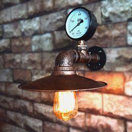 Wholesale Handmade Lamps - Retro industrial wind handmade iron water pipe lamp creative home metal wall lamp chandelier bar room lighting