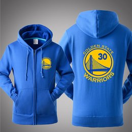 Wholesale Pure Buttons - New Wholesale Basketball Golden State Stephen Curry Warriors Spring Fall Winter personality Pure cotton zipper fashion fleece hooded hoodie