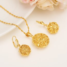 bead necklace gold balls Coupons - ROUND BALL HOLLOW OUT PENDANT CHAIN EARRINGS SETS JEWELRY 14 K REAL YELLOW FINE SURFACE GOLD GF BEAD NECKLACES WOMEN