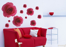 Wholesale Red Flower Vinyl Wall - 11 Red 3D Rose Flower Wall Sticker Decal Removable Home Decor Vinyl