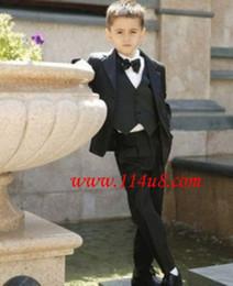Wholesale Cotton Down Vests - 2017 Hot Sale Boys Boys Tuxedo Suits Formal Wedding Kids Suits Child Costume For 3-12Year Pant+Coat+Tie+Vest+Shirt 5pcs Set Boy Clothing Set