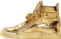 Wholesale Casual Lace Wedge - Newest Men Wedge Gold Sneakers High Top Zipper Lace Up Sneakers Casual Shoes with Big Chains Wholesale Cheap Price bn8
