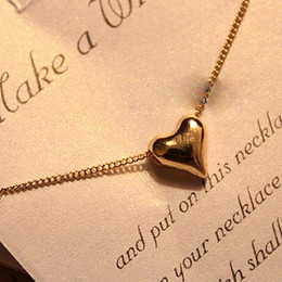 Wholesale Horn Shaped Pendants - Wholesale-Fashion Elegant Simple Gold Tone Solid Heart Shaped Necklace Pendant Lady Girl Woman Party Prom Gift Hot