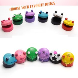 Wholesale Wholesale Wooden Frog - Children's Animal Zoo Musical Percussion 2017 new frog Pig tiger Instrument Wooden Colorful Castanet Baby Educational Toys 0601708