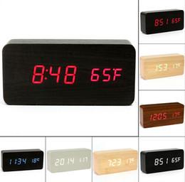 Wholesale Led Display Show - Fashion Hot Modern sensor Wood Clock Dual led display Bamboo Clock digital alarm clock Led Clock Show Temp Time Voice Control