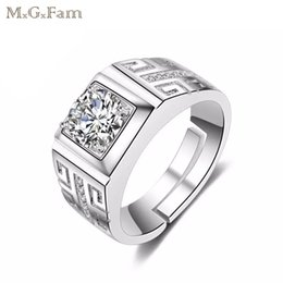 Wholesale White Zircon Ring For Men - MGFam (159R) White Rings For Men Daily Party Square Clear CZ Gold Plated Fashion Jewelry 2018 New jewelry Fashion AAA+ Cubic Zircon