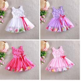 Wholesale Gauze Clothing Wholesale - Girls petals dress new Girls lace petals princess tutu pearl sequins vest gauze dress baby clothes 4 colours