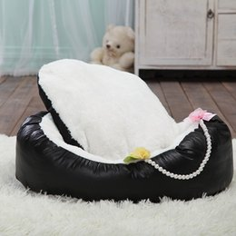 Wholesale Velvet Puppy - 2015 Direct High Quality Coral Velvet Kennel Dog Sofa Pet Bed House Luxury Pearls Cradle Puppy Kitten Nest Free Shipping