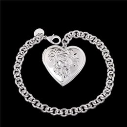 Wholesale Photo Frame Bracelet - Beautiful new design 925 silver photo frame Heart Pendant Bracelet Fashion Jewelry Valentine's Day gift free shipping