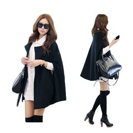 Wholesale Womens Black Cape - S5Q Fashion Womens Black Batwing Cape Wool Poncho Jacket Winter Warm Cloak Coat AAADAZ