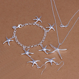 insieme degli orecchini della collana della stella Sconti Di alta qualità in argento sterling 925 Il tre pezzi insieme dei monili delle stelle marine DFMSS124 di zecca nuovo stabilimento diretta argento 925 del braccialetto della collana