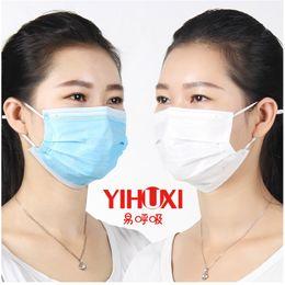 Wholesale Wholesale Disposable Mask - Blue White 3-Ply Disposable Surgical Face Salon Anit-dust Ear Loop Medical Mouth Flu Mask Anti-smog Face Mask 100pcs lot MZ017