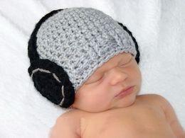 Wholesale Crochet Hat Headphone - free shipping,Newborn Photo Prop, newborn Headphone Hat, handmade Crochet Hat, Baby Boy, Baby Girl, Headphones hat 0-3month