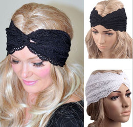 Wholesale Womens Wide Lace Headbands - 2015 Women Bandanas Lace Head wrap girls wide chic turban Hair Band Headbands hair accessories for womens girls 30pcs lot #3923