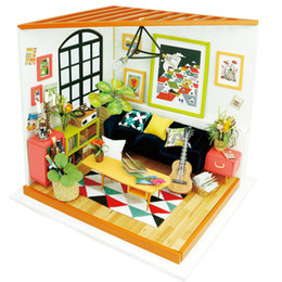 Wholesale 3d Wooden Puzzle House - Wholesale- 3D Puzzle Diy Handmade Doll House Miniatura Toy With Furniture Wooden Doll Houses For Children Home Decor Craft Christmas Gifts