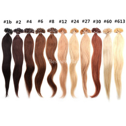 "Wholesale Black Fusion Hair Extensions - 100g 14""16""18""20""22""24"" Prebonded Italian Keratin Nail Tip U tip Fusion Indian Remy Human Hair Extensions 100 s pcs"