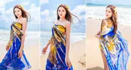 Wholesale Swimwear Girl Sunscreen - Wholesale-Women Long Soft Beach Scarve 180CM Colorful Summer Swimwear Cover Up Wrap Shawl ChiffonScarf Girl Sunscreen Wrap Free Shipping