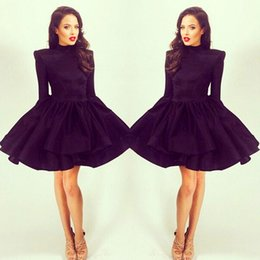 Wholesale Girls Clubwear - Vintage Michael Costello Long Sleeve Cocktail Party Gowns Short Mini High Collar A Line Satin Girls Homecoming Graduation Dresses Clubwear