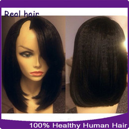 Wholesale Long Half Wig Human Hair - 1*3 Right Opening U Part Wigs Short Peruvian U Part Wigs For Black Women Kinky Straight Upart Human Hair Bob Wig For Sale