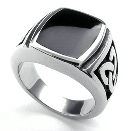 Wholesale Signet Silver - Wholesale-Fashion New Jewelry Stainless Steel Ring Knot Signet Jewelry Heavy Wide Ring Black Silver Ring Size 7 8 9 10 11