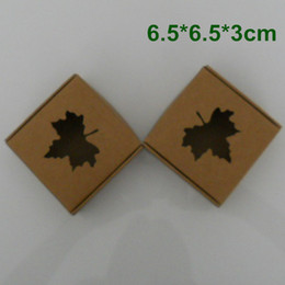 Wholesale Chocolate Box For Wedding - 6.5*6.5*3cm Kraft Paper Packaging Box Wedding Party Gift Packing Box With MAPLE LEAF Window For DIY Handmade Soap Jewelry Chocolate Candy