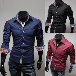 Wholesale Cotton Flower Shirt - Fashion Men 2016 Spring Casual Shirt Flower Printing Patchwork With Solid Long Sleeve Slim Fit Men Dress Shirt Cotton Men Polo J160124